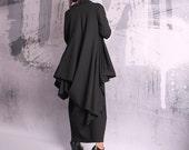 Black coat, asymmetric jacket, woman coat, black vest, black blazer, asymmetric coat,long coat,plus size coat,elegant coat,overall,UM-048-PU