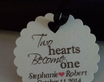 Personalized Wedding Favor Tags Two Hearts Become One Elegant Shimmer Gift Tags