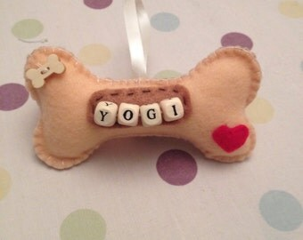 Personalised felt dog christmas decoration