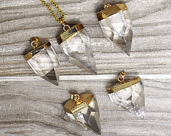 Natural Crystal Quartz Petite Spike Charm Pendant with 24k Gold Electroplated Cap and Bail