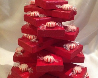 Red wooden hand painted tabletop Christmas tree