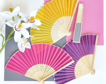 Silk Hand Fan - Beach Fan Favors - Hand Fan - Wedding Fans - Fabric Fan - Baby Shower Fans - Beach Wedding Ideas - (EB1014) set of 24|