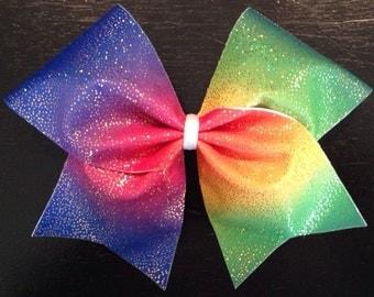 Rainbow Sparkle Cheer Bow