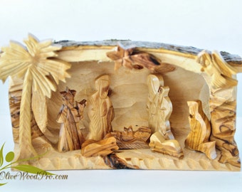 Olive wood carved Christmas tree nativity set holy family cave - Holy land
