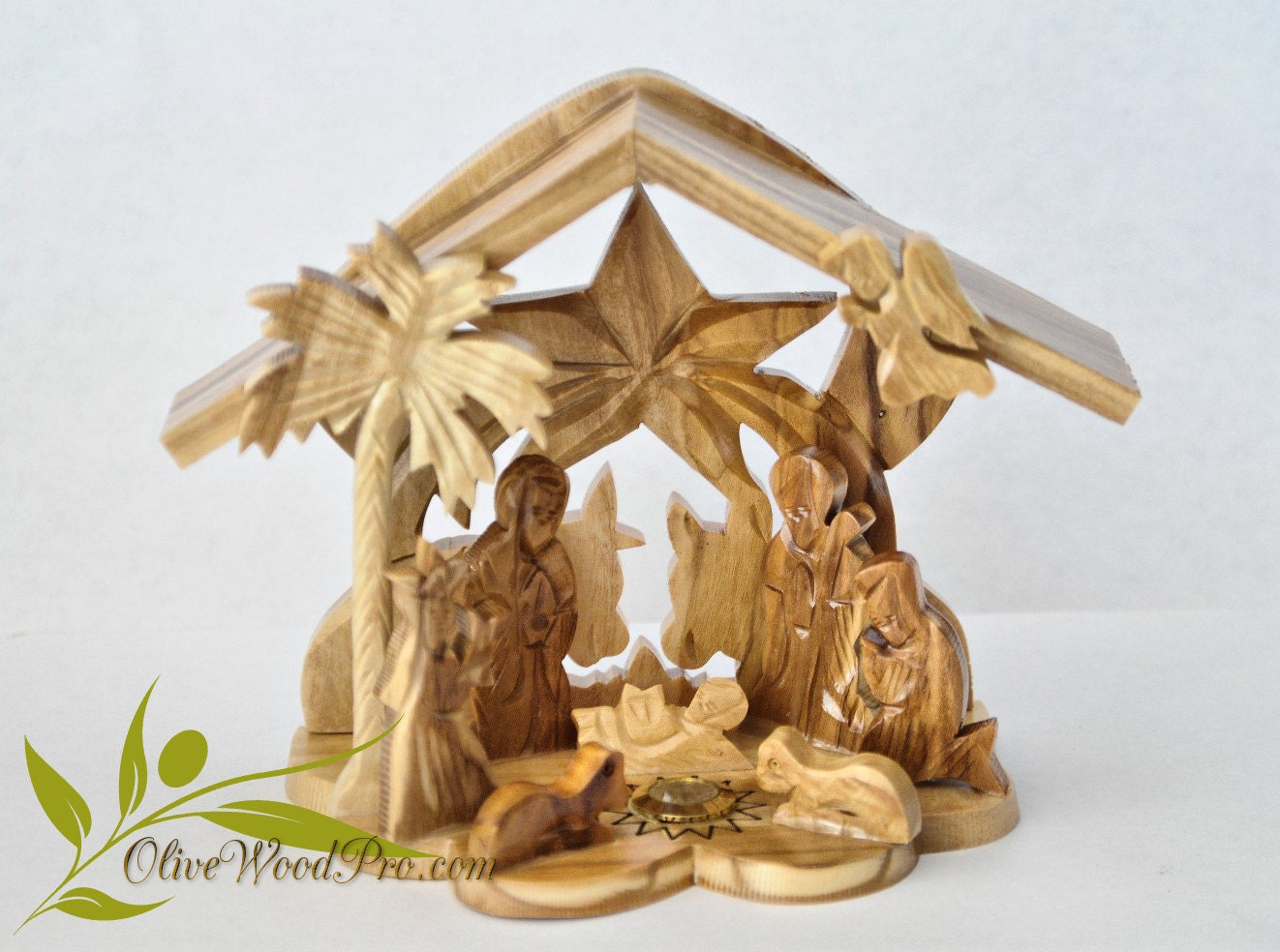 Olive wood hand carved christmas tree nativity holy family set