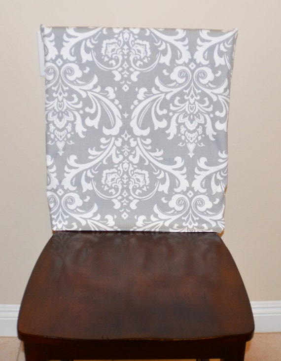 Kitchen Chair Slipcover Back Cover Dining Room Counter Or Bar Stool Seat Washable Removable Gray Blue Teal