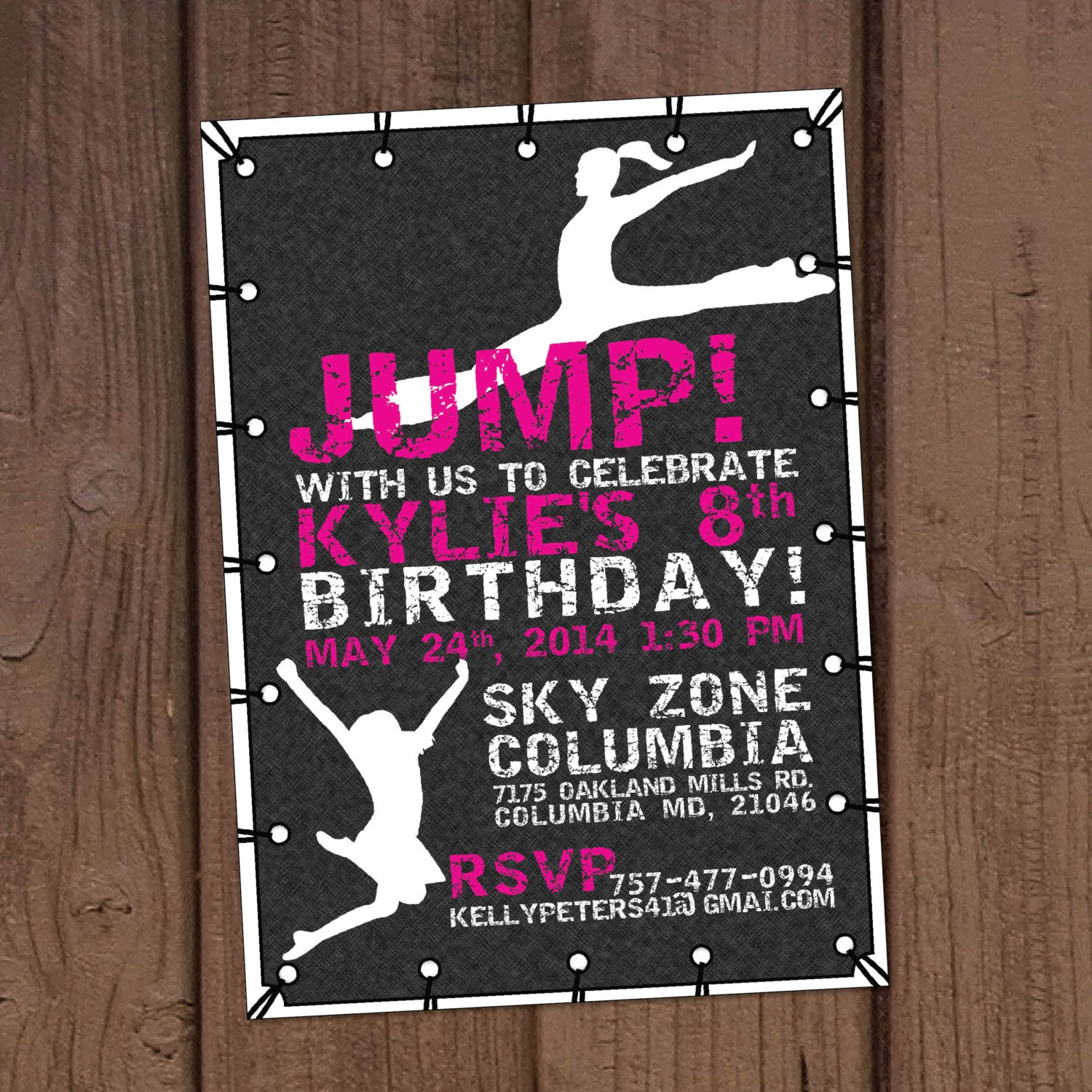Trampoline Party Invitations: Girl Jump Trampoline Park Birthday Party Invitation