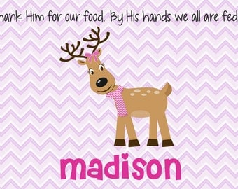 Personalized Placemat - Kids Placemat - Childrens Placemat - Prayer Placemat - Christmas Placemat - Kids Holiday Placemat - Reindeer Girl