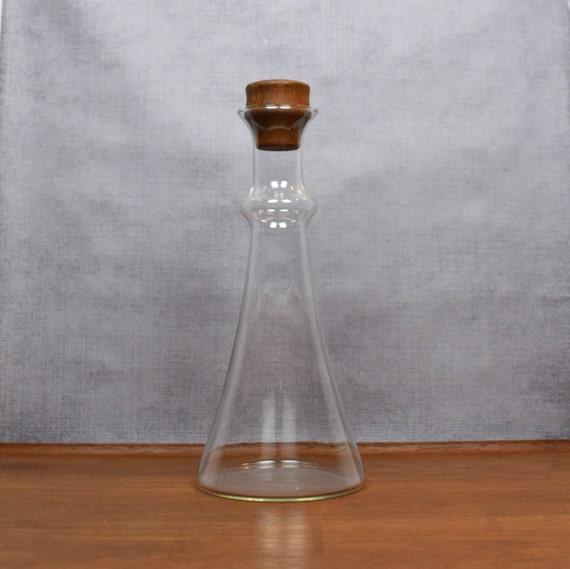 vintage dansk glas wein dekanter saft karaffe teak holz. Black Bedroom Furniture Sets. Home Design Ideas