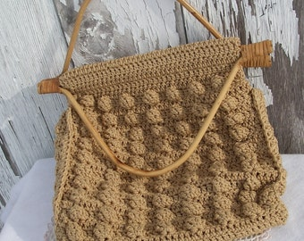 Vintage Purse,  Specially Handmade By Ruth Crocheted Purse With Bamboo Handles,  Vintage Handbag