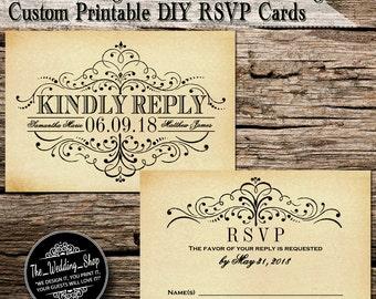 "3.5"" x 5"" Vintage Ornate Swirl Custom Printable DIY Wedding RSVP Cards"