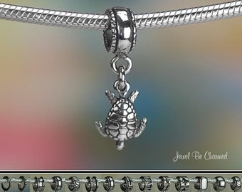 Tiny Sea Turtle Charm or European Charm Bracelet .925 Sterling Silver