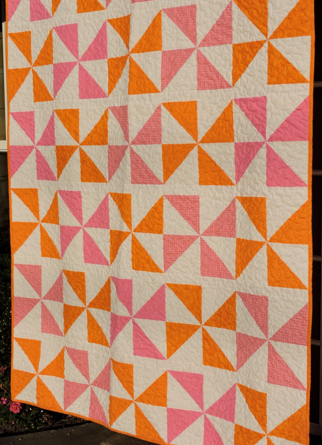 Orange Sherbet And Pink Pinwheels Quilt With Flannel Back For