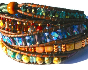 Multicolor Bead and Leather Wrap Bracelet