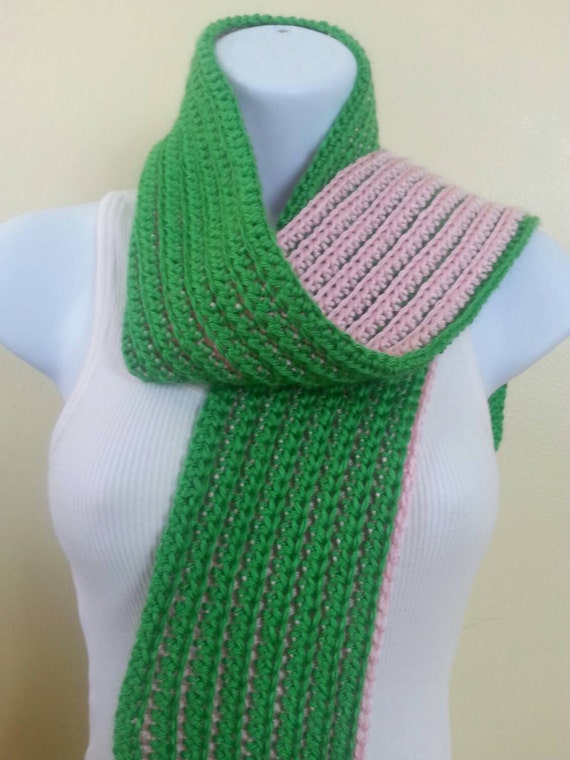 pink and green reversible scarf