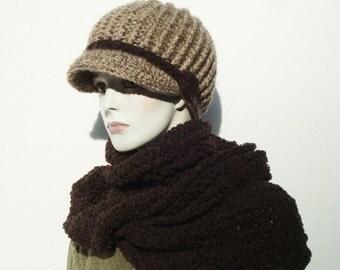 Womens Newsboy Hats-Hooded Scarf-Newsboy Hats-Knitted Newsboy Hat-Chunky Knit Hat-Chunky Circle Scarf-Infinity Scarf-Winter Circle Scarf