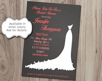 Wedding Dress Silhouette  Bridal Shower Invitation DIY Printable