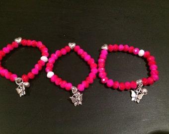 Hot pink crystal charm/ Nade Ali bracelet