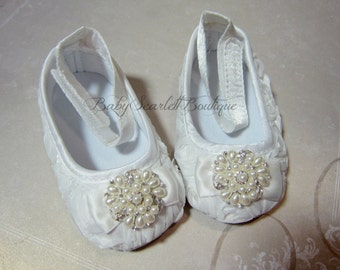 White Rosette Flower Baby Girl Shoes,Wedding,Christening Shoes