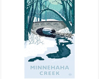 Landmark Series   Minnehaha Creek Winter, Minneapolis, MN by Graphic Artist, Mark Herman