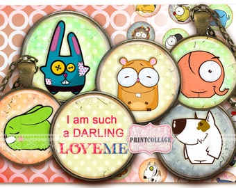 Cute Animals Cabochon images Digital Collage Sheet 1.5 inch 18 mm 14 mm 1 inch Printable images Instant download Bottle Cap images c158