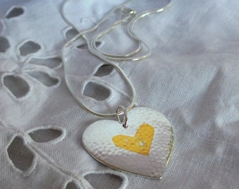 Silver heart pendant necklace with keum boo gold detail
