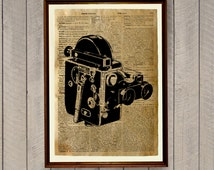 Old camera decor Vintage poster  Retro photo print WA360