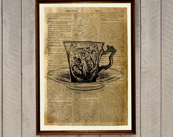 Tea room poster Tea cup print Kitchen decor Dictionary page WA318