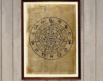 Occult decor Magic circle poster Alchemy poster WA159