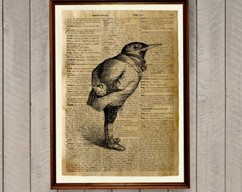 Blackbird print Animal art poster Bird home decor Dictionary page WA491