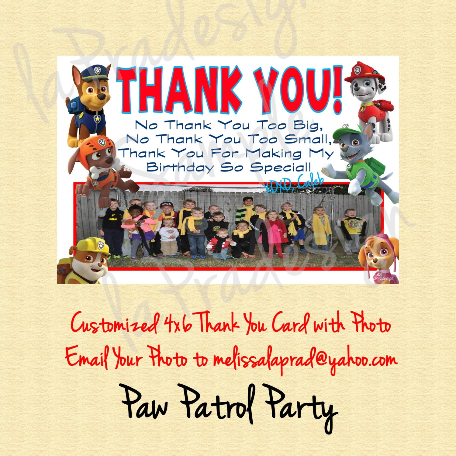 Paw Patrol Birthday Thank you Card With Picture BOY OR GIRL