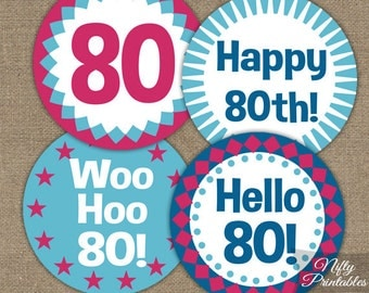 80th Birthday Cupcake Toppers - 80th Birthday Party Printables - DIY 80th Favor Tags - Hot Pink Blue 80th Birthday Party Decorations