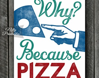 Pizza Print - Pizza Art - PRINTABLE Pizza Poster- Kitchen Signs - Funny Pizza Print - Food Art - Kitchen Print - Pizza Gifts - Kitchen Gifts