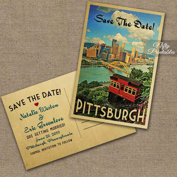 Pittsburgh Save The Date Postcards Printable Pittsburgh