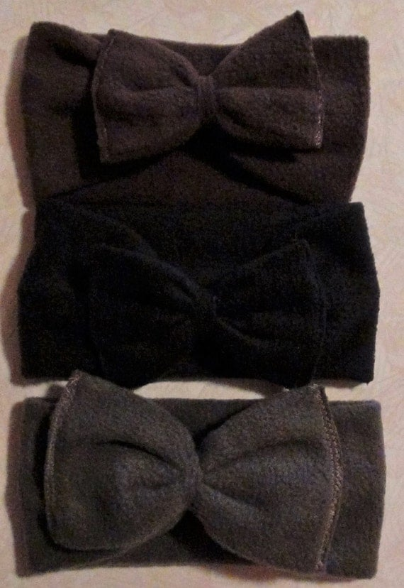 Fleece bow headband/mommy and me headband/fleece headband/warm headband/baby bow headband/toddler bow headband/ear warmers/18 colors