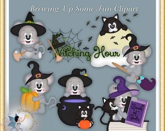 Halloween Witch Mouse Clipart