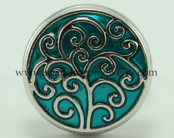 Teal Spiral Tree SNAP Jewelry - NOOSA Chunk Popper Charm Button