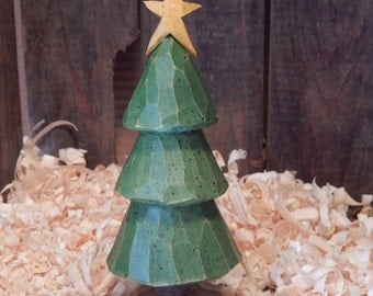 Hand Carved Tree with Carved Star on Top