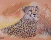 WILDLIFE Artwork Realistic CHEETAH Chalk Pastel DRAWING peach yellow orange brown black Gift Nature tree Autumn grass Africa pattern cats