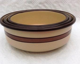 1960s Set of three retro brown enamel bowls