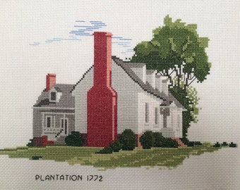 "Handmade unframed cross stitch ""Plantation Home"""