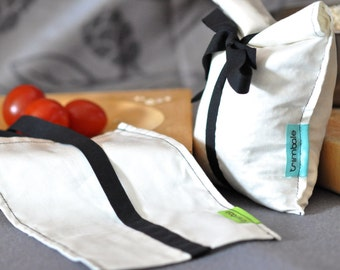 Kit of two organic cotton reusable bags & black cotton ribbon