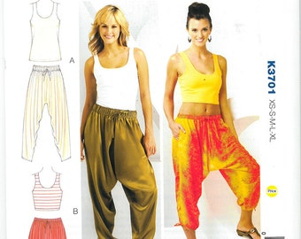 Sewing Pattern - Womens Sewing Pattern Harem Pants Pattern and Tank Tops Pattern Two Views - Kwik Sew # K3701