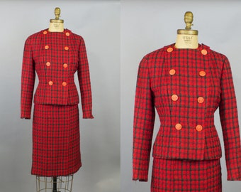 1950s Lachasse of London Couture Suit / Women's Fitted Plaid Suit / 50s Suit