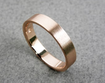 14k Rose Gold Wedding Band - Brushed FInish Wedding Band - Handmade - Men - Women - 4x1mm