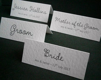 50 Personalised Wedding Place Name Cards - Any Text Any Colour