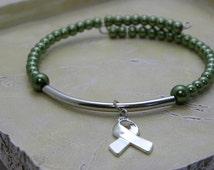 Green Awareness Memory Wire Bracelet