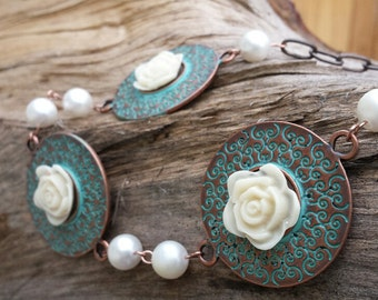 Necklace - Verdegris Copper & Ivory Rose