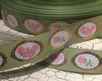 "3 YARDS 7/8"" Vintage Rose on Moss Green with Gold Metallic Foil grosgrain ribbon"