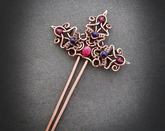Copper hairpin with ruby, hairpin handmade, blue and red,